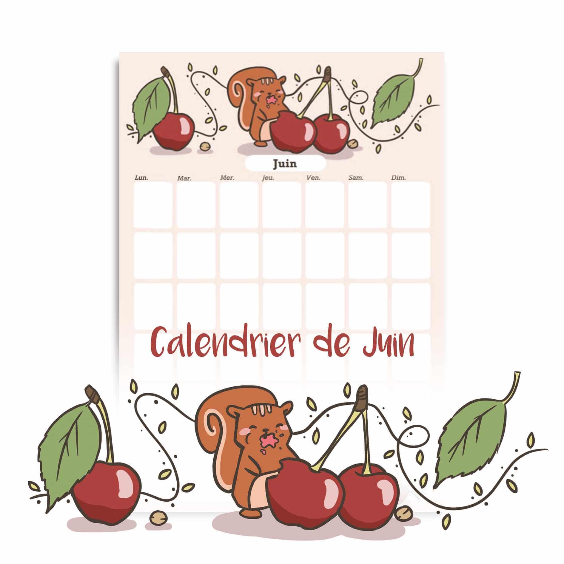 Illustration : calendrier de juin à télécharger