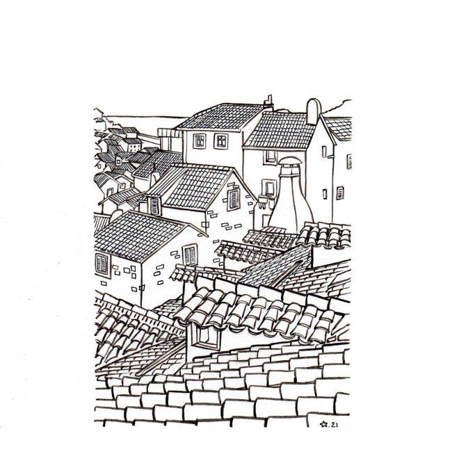 illustration : Les toits du sud. Encre de chine