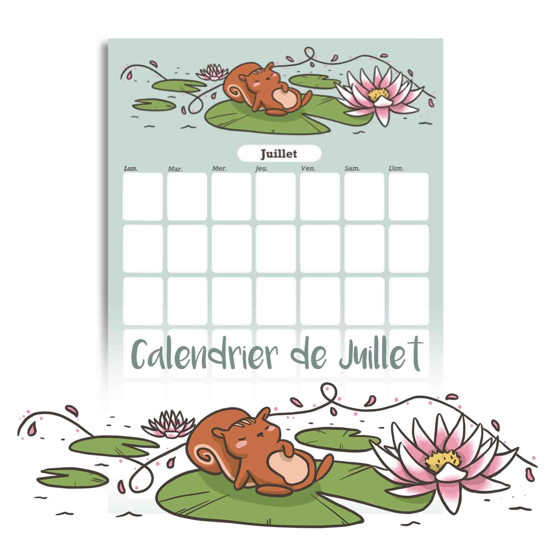 Illustration : calendrier de juillet à télécharger