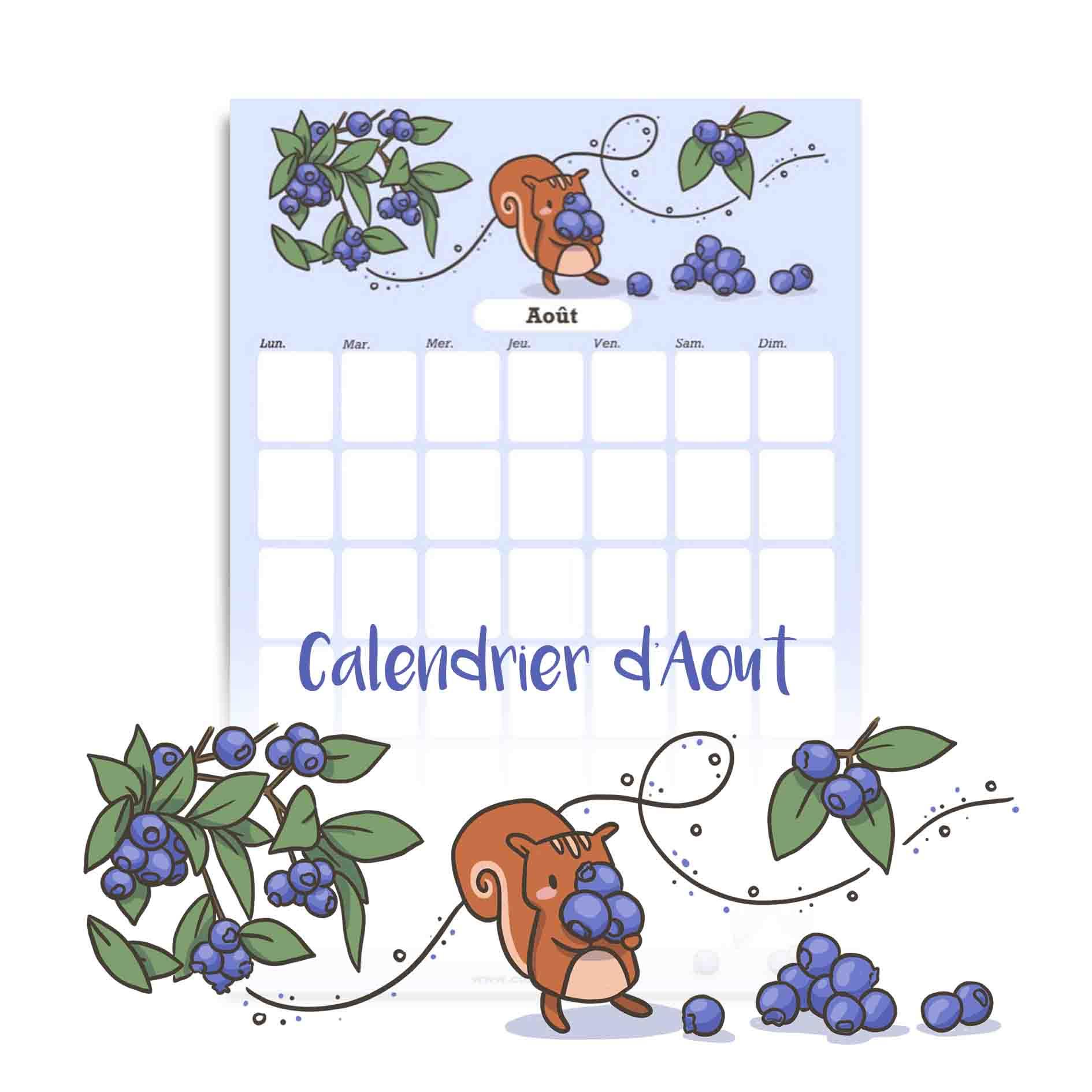 Illustration : calendrier d'aout à télécharger