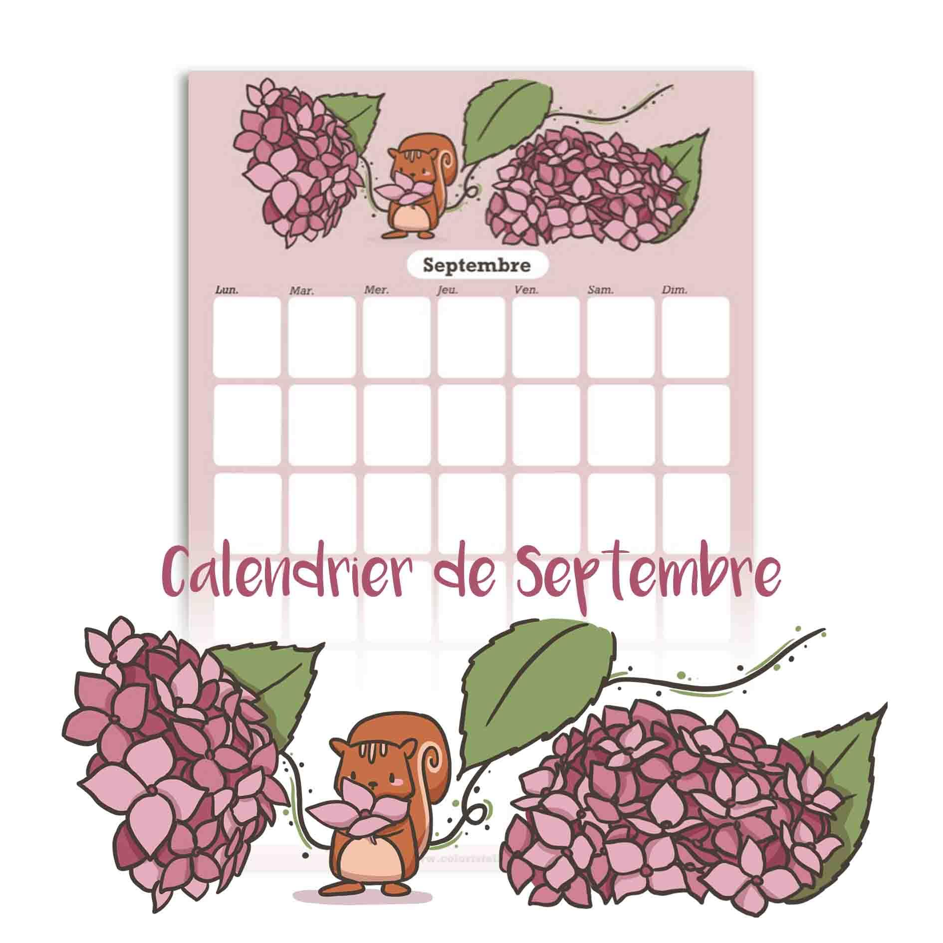 Illustration : calendrier de septembre à télécharger