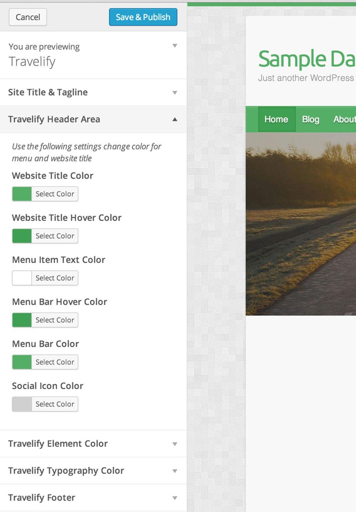 Travelify color scheme