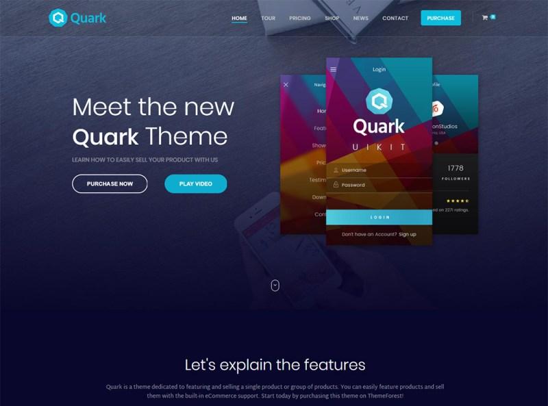 Quark - Tema de WordPress para un solo producto
