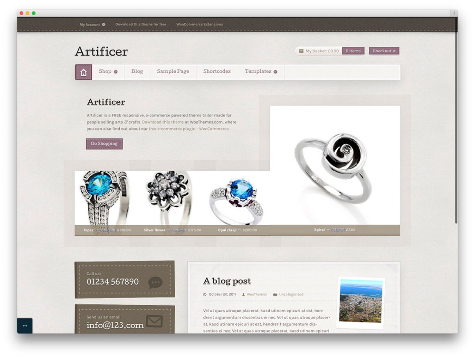 Artífice - livre WordPress thtme