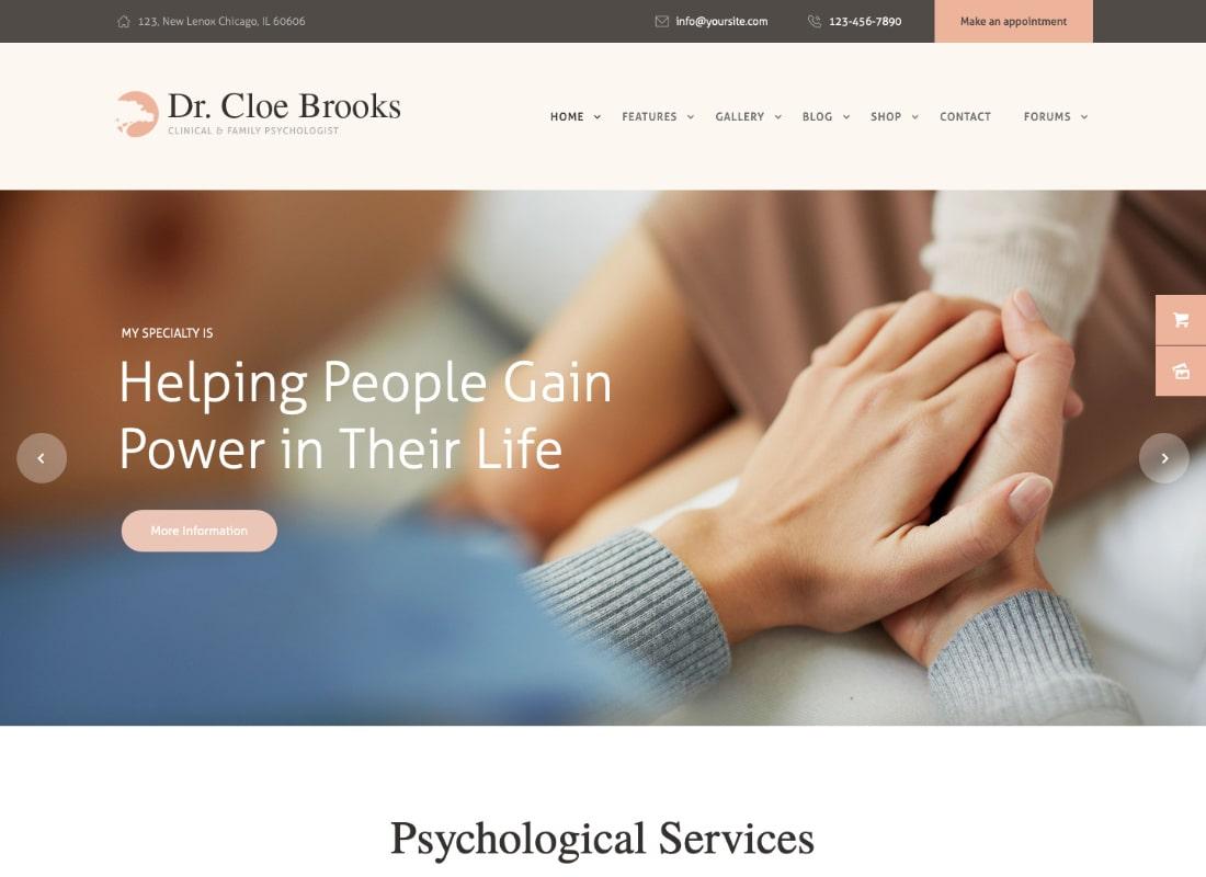 Cloe Brooks | Psicología, consejería y medicina WordPress Theme + RTL