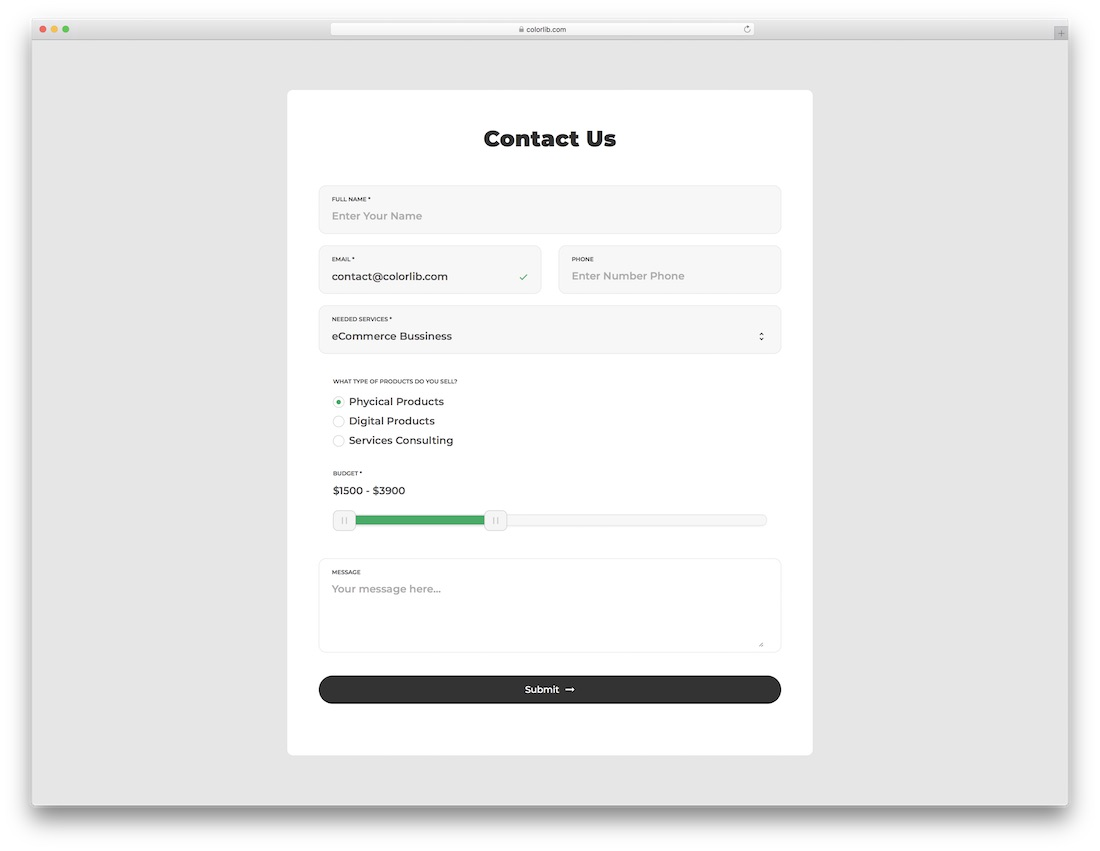 No matter what information you need, whether it's applications, order details, or feedback, we've got online forms of every type, for every industry. Top 41 Free Html5 Css3 Contact Form Templates 2021 Colorlib