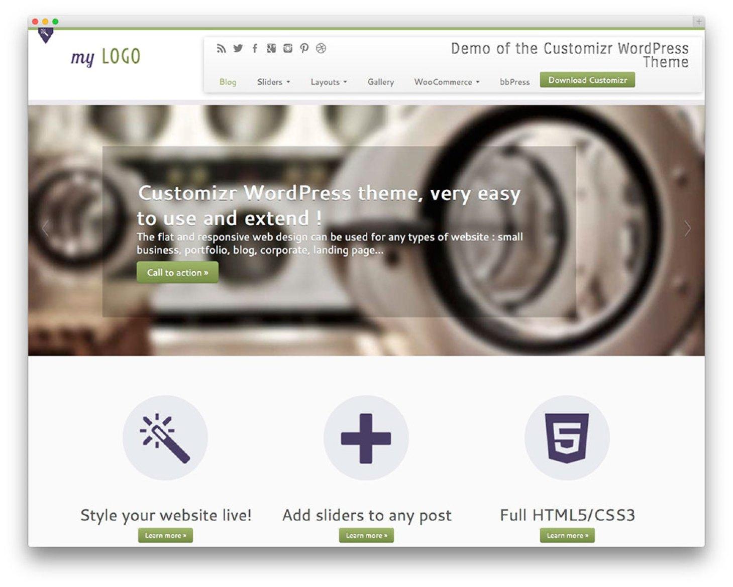 Customizr - tema wp negócios grátis