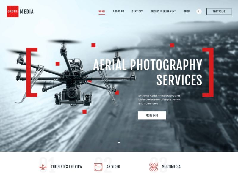 Drone Media | Tema de WordPress para fotografía aérea y videografía