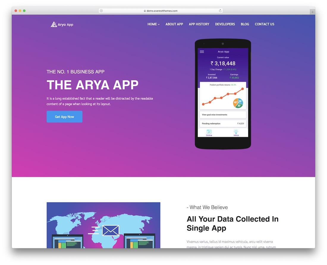 Arya libre diseño plano tema de wordpress