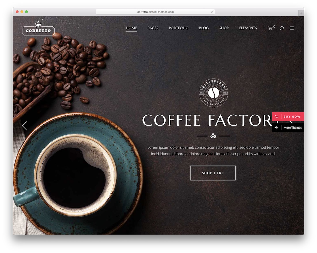 tema de wordpress corretto coffee shop