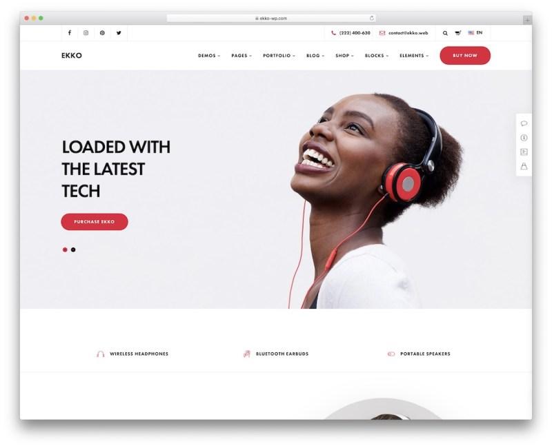 tema de WordPress para un solo producto ekko