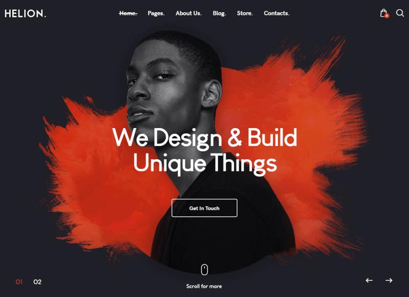 Helion | Portafolio creativo personal Tema de WordPress + Tienda