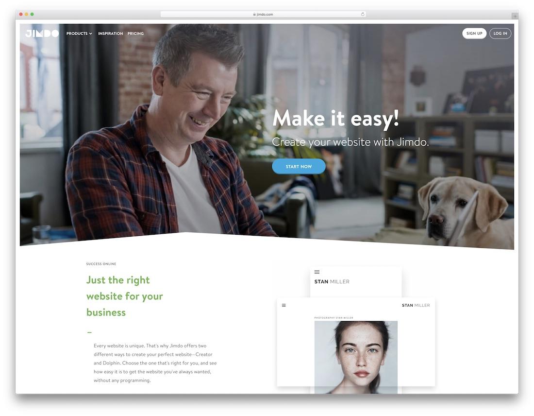 constructor de sitios web de seguros jimdo
