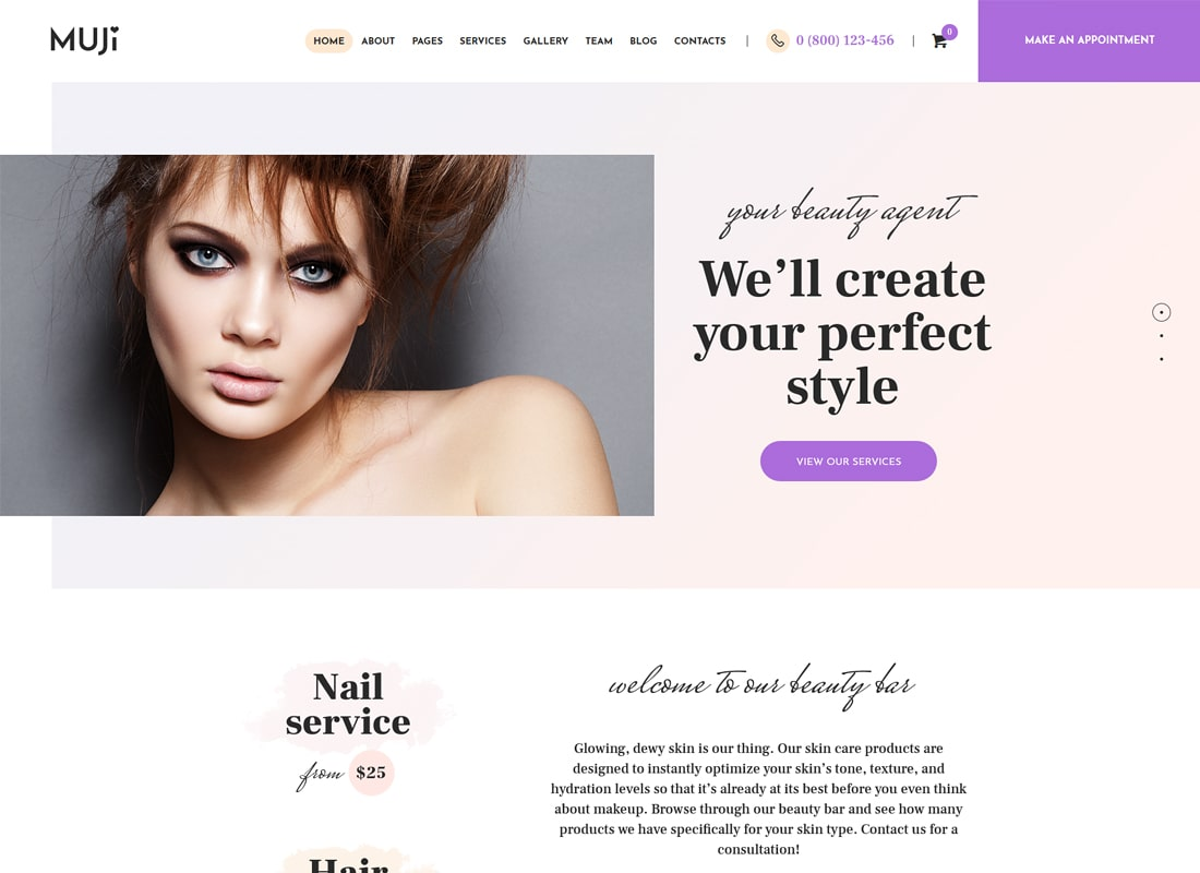 Muji | Tema de WordPress Beauty Shop & Spa Salon