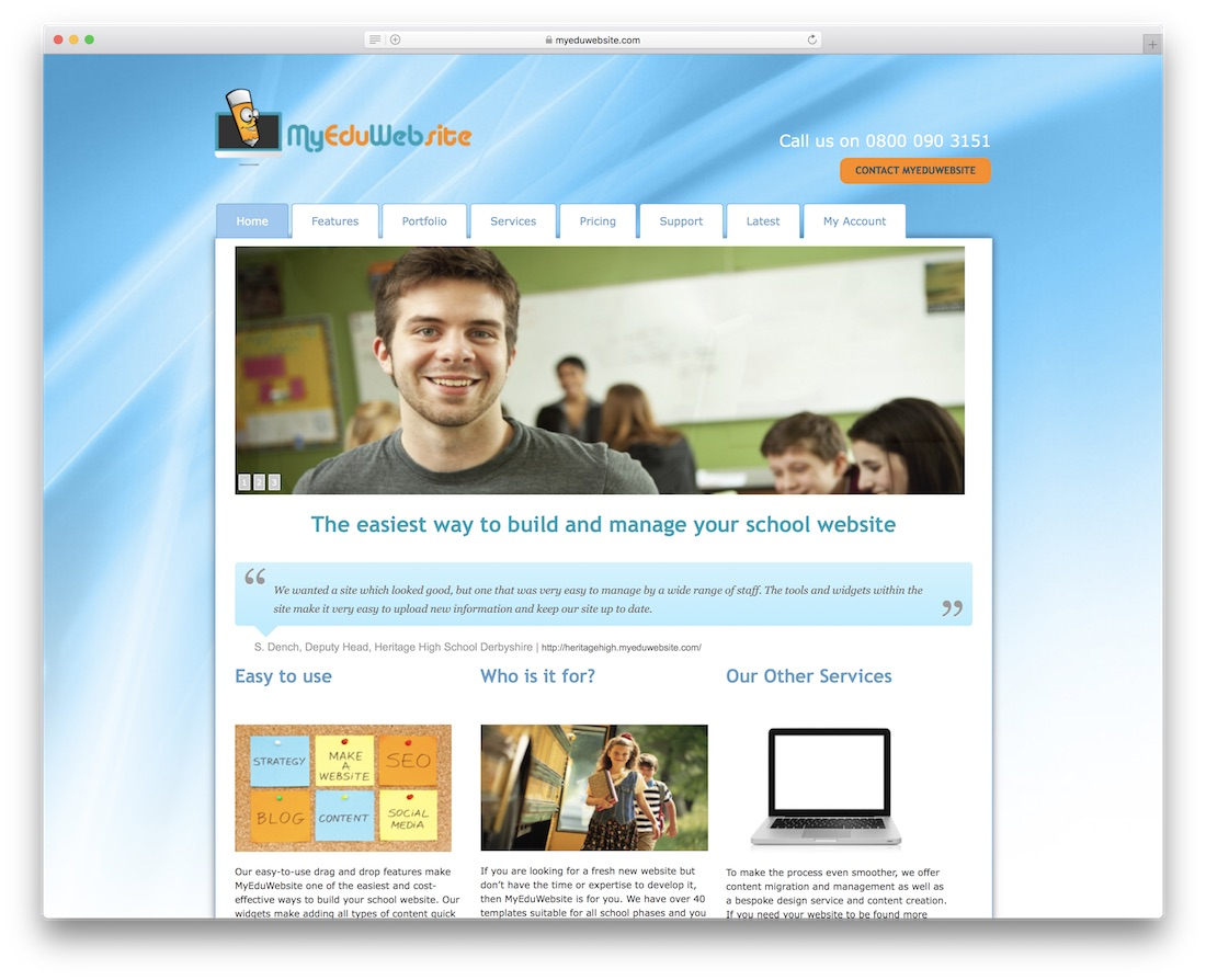 myeduwebsite escuela y creador de sitios web de maestros