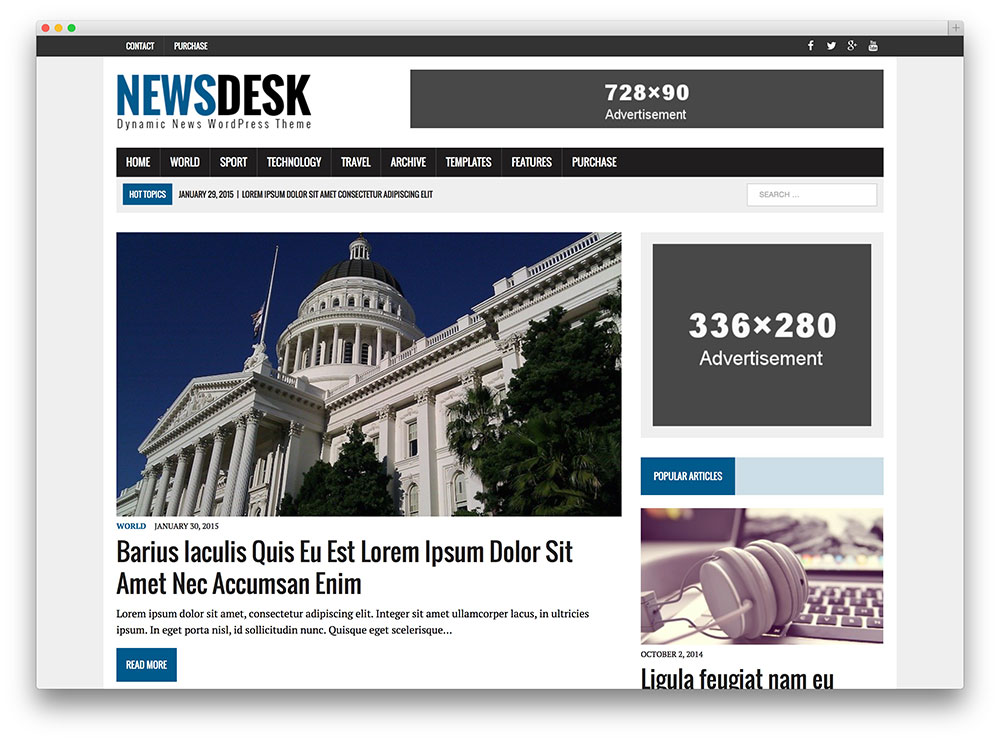 Tema do wordpress da revista newsdesk