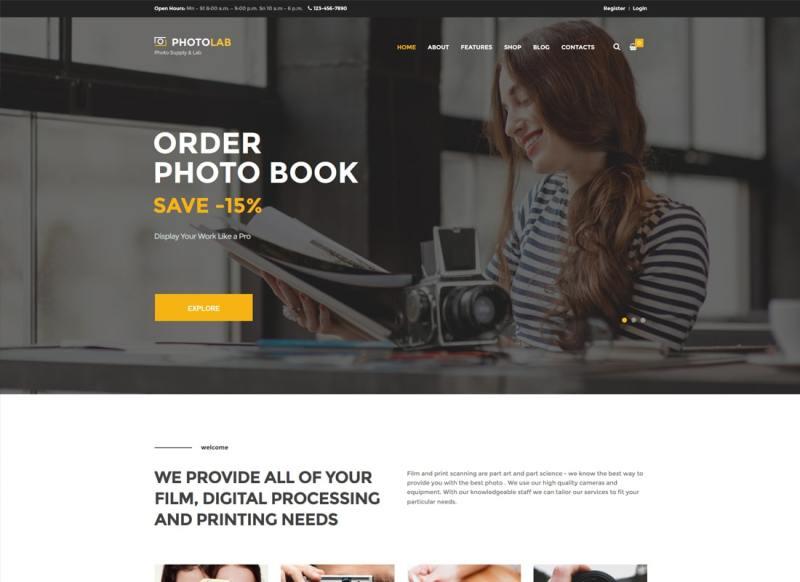 PhotoLab | Un tema de WordPress de Trendy Photo Company & Photo Supply Store