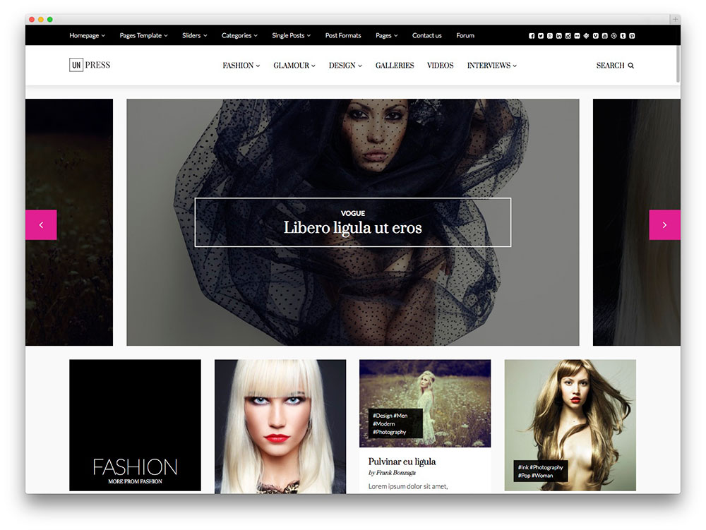 Unpress moda WordPress tema