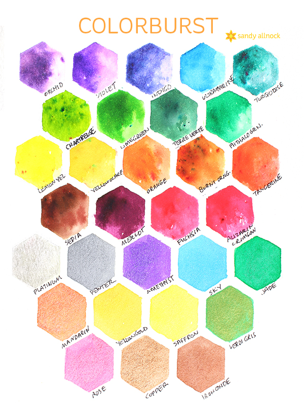 Sandy Allnock swatches - Watercolor Pigment Crystals: Brusho, Color Burst, Lindy's Magicals & more!