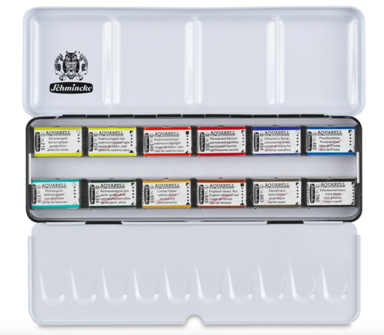 Best Watercolor Paint Brands for Artists& Beginners, find best prices for watercolor paints: Schmincke 12 pan set
