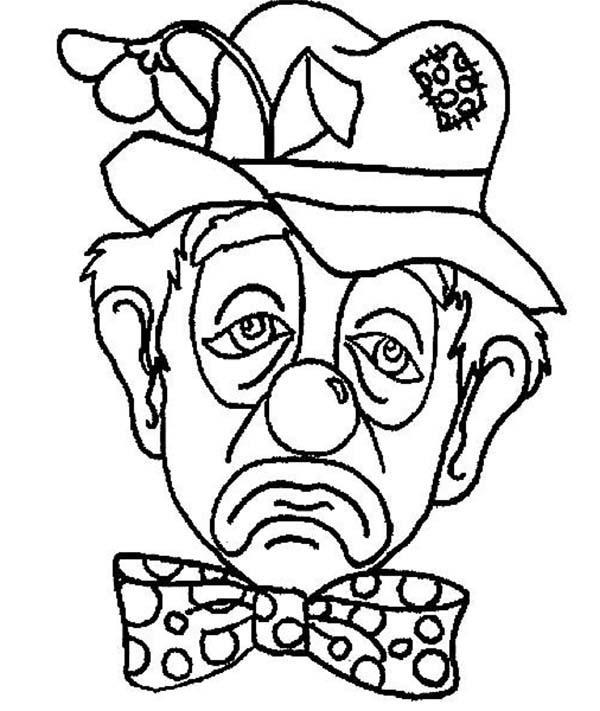 A Frowning Clown Coloring Page Color Luna