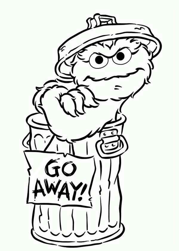 Oscar Say Go Away In Sesame Street Coloring Page Color Luna