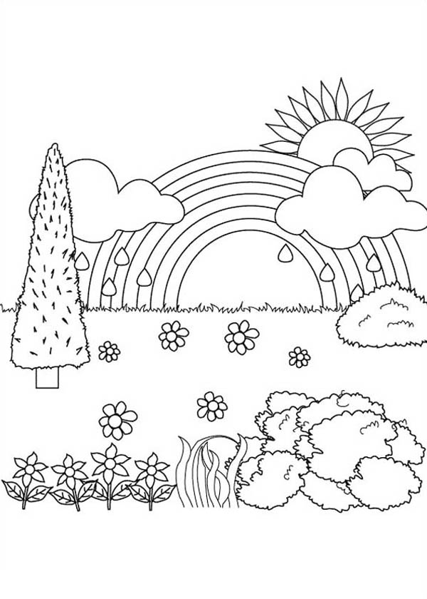 Beautiful landscape view nature coloring page color luna, jesus loves you coloring page