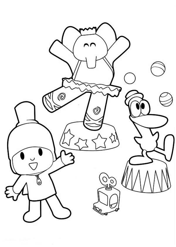 Pocoyo Doing Circus With His Friends Coloring Page Color Luna