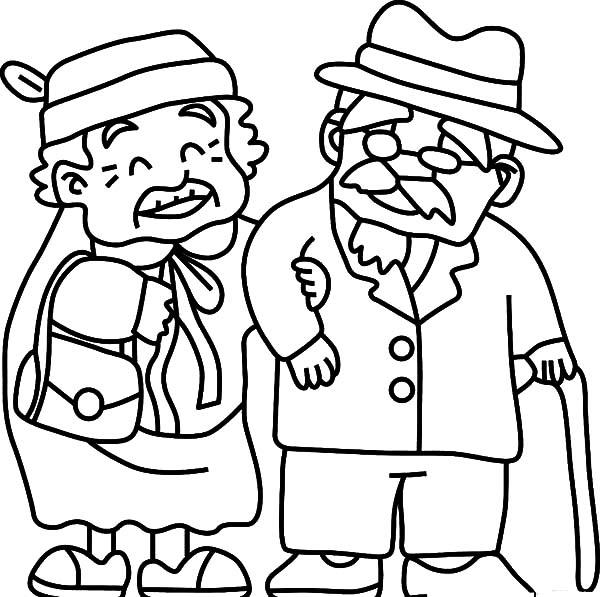 grandfather take grandma to walk coloring pages  color luna