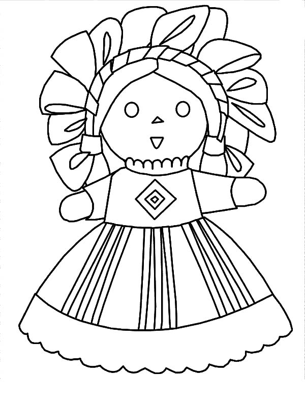 Mexican Dress Doll Coloring Pages Color Luna