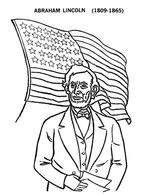 Abe Lincoln And US Flag On Presidents Day Coloring Page