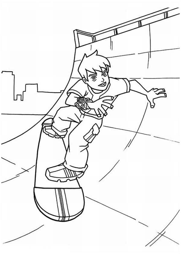 Young Ben Playing Skateboard Coloring Page Download