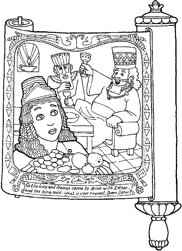 picture of purim in scroll coloring page  download