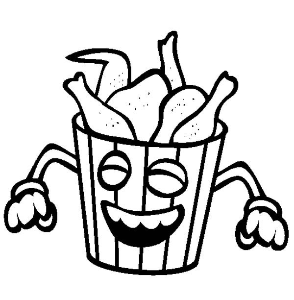 junk food smiling fried chicken coloring page  download