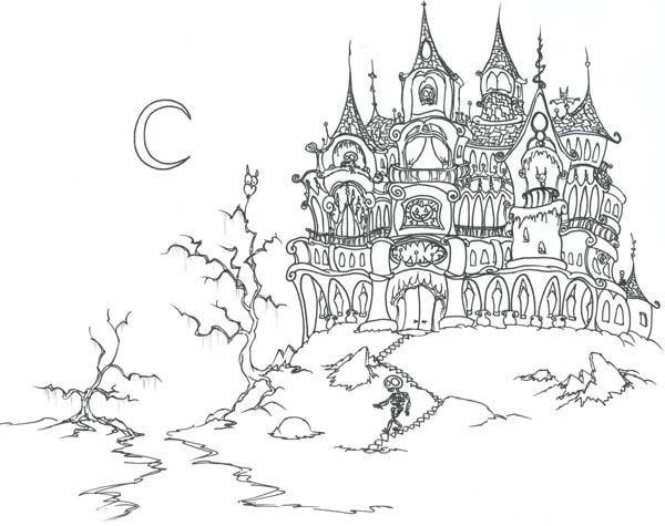 Haunted Castle On Halloween Day Coloring Page Download