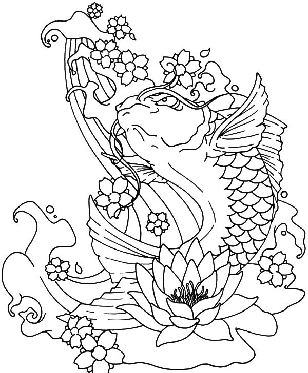koi fish jumping out of water coloring pages  download