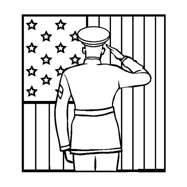 soldier salute flag day coloring pages  download & print