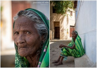 An old woman sits outside her house in the narrow lanes of Varanasi, Uttar Pradesh