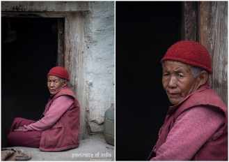 She was camera shy and would vanish inside that door the moment she saw someone take her photo, at Rangrik monastery in Charang, Himachal
