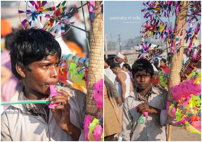 A boy selling colorful toys at Maha Kumbh mela at Sangam, Allahabad