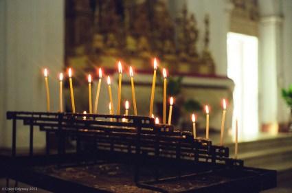 Candles at a church in Goa