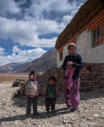 A family outside their house in Rangdum, on way to Zanskar, Ladakh