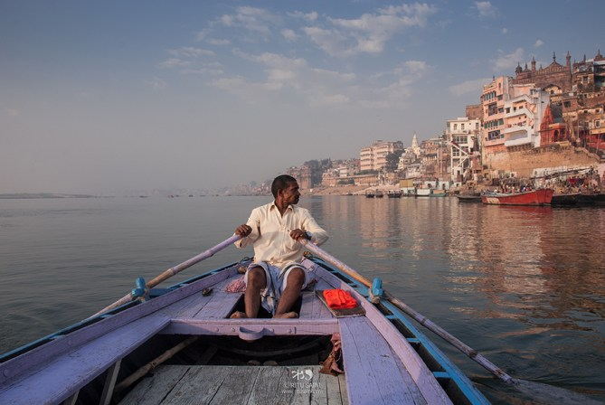 Our boatman who showed us the ghats