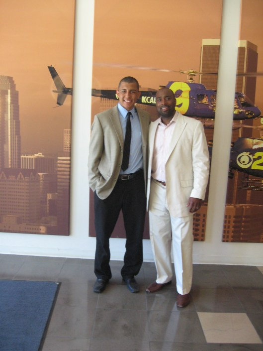 Sports agent Eustace King (right) with client Emerson Etem of the Anaheim Ducks.
