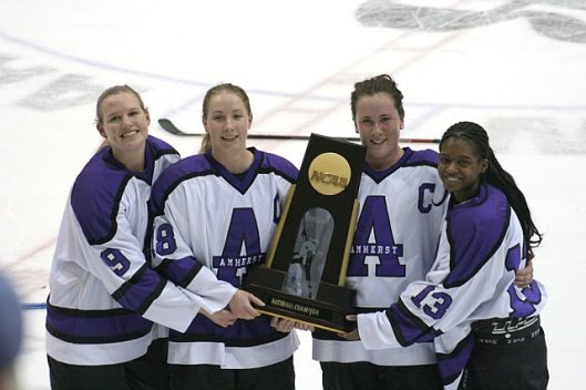 Tarasai Karega, far right, with Amherst College teammates.