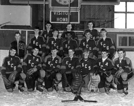Percy Paris, second-row, center, playing for Kings/Edgehill College, a high school hockey team in Nova Scotia.