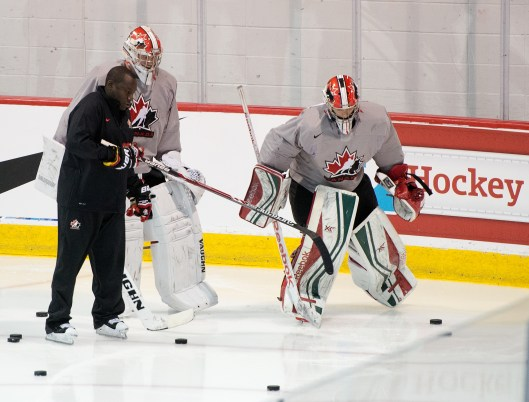 Fred Brathwaite at work at Canada's World Junior Selection Camp (Photo/Matthew Murnaghan/Hockey Canada Images).