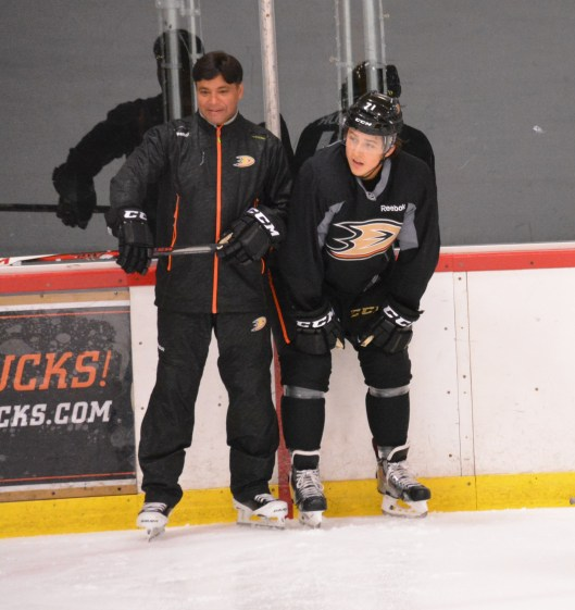 Sudarshan Maharaj, left, roves the Anaheim Ducks system coaching its goaltenders and scouting for the organization, too.