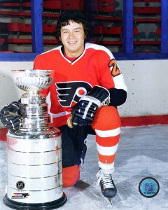 Flyers forward Reggie Leach with the Stanley Cup.