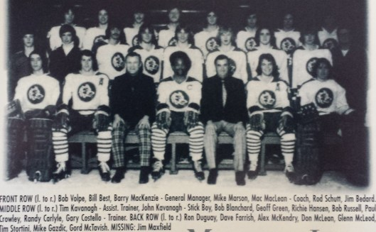 Mike Marson, front row center, with the 1973-74 Sudbury Wolves (Photo/Courtesy Sudbury Wolves)
